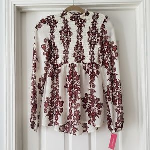 NWT White and Burgundy Floral Blouse
